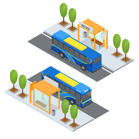 Busstation en openbaar vervoer. Isometrische weergave. Vector illustratie Vector Illustratie