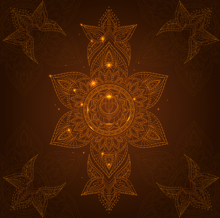 sahasrara: Chakra Svadhisthana on a Dark Brown Background for Your Design. Vector illustration Stock Photo