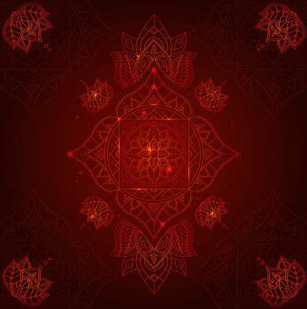 muladhara: Chakra Muladhara on a Dark Red Background for Your Design. Vector illustration