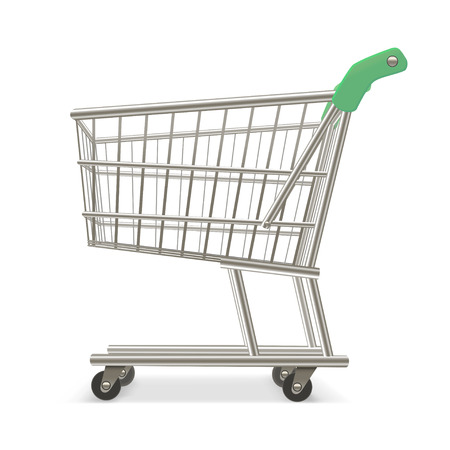 retail equipment: Empty Shopping Supermarket Cart. Business Retail Equipment. Vector illustration