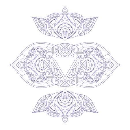 ajna: Chakra Ajna for Henna Tattoo and for Your Design. Vector illustration Illustration