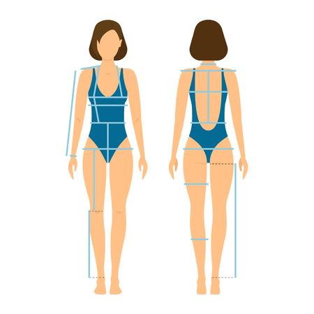 Woman Body Front and Back for Measurement. Flat Design Style. Vector illustration Vettoriali