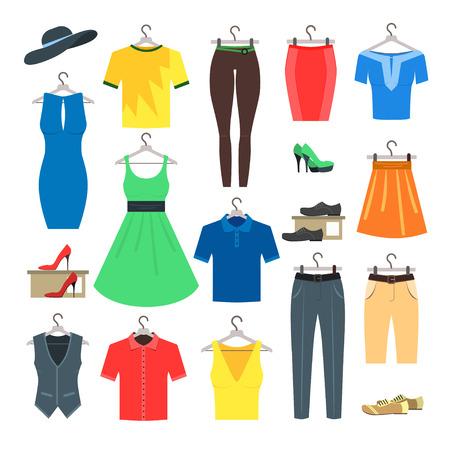 clothe: Woman and Man Clothe Set. Flat Design Style. Vector illustration