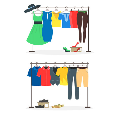 hangers: Clothes Racks with Wear on Hangers Set. Flat Design Style. Vector illustration
