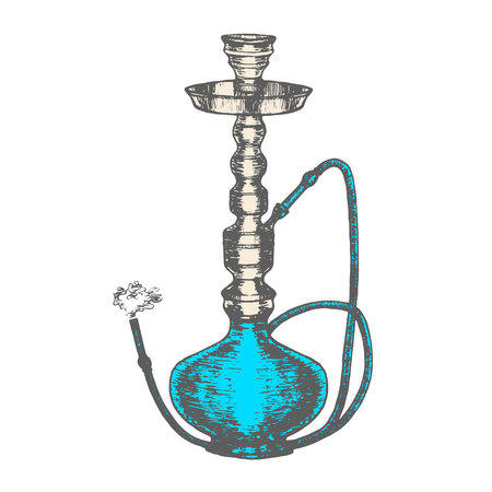 Hookah with Smoking Pipe Hand Draw Sketch. Vector illustration