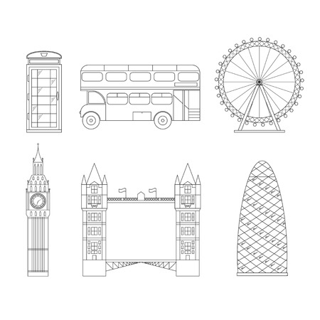gherkin building: London City Thin Line Pixel Perfect Art. Material Design. Vector illustration Illustration