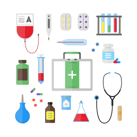 a tablet blister: Medical Healthcare Tool and Equipment Set. Flat Design Style. Vector illustration Illustration