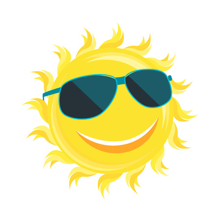 sunglassess: Sun Face with Sunglassess. Flat Design Style. Vector illustration