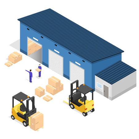 loading dock: Exterior Warehouse Building Business Delivery. Isometric View. Vector illustration