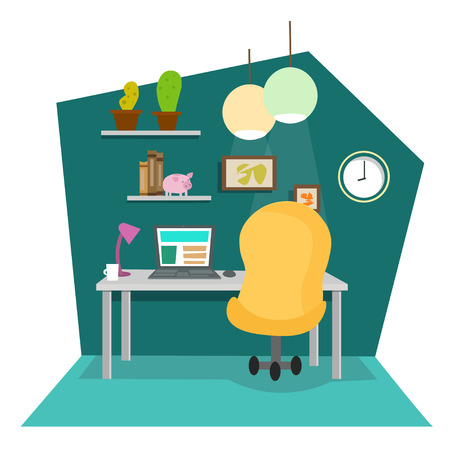 work place: Work Place at Office or Home. Flat Design Style. Vector illustration