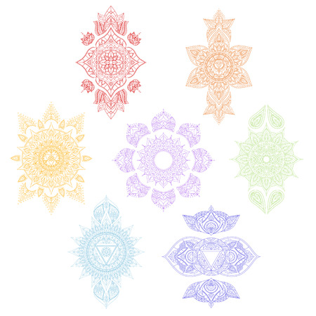 ajna: Color Chakra Set for Tattoo and for Your Design. Vector illustration