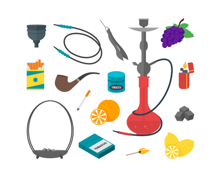 cigarette pack: Hookah Set Traditional Smoking Devices. Flat Design Style. Vector illustration
