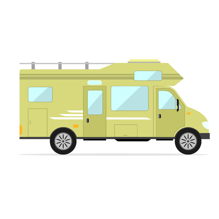 Mobile Home Park Car Camping Trailer Family Flat Design Style
