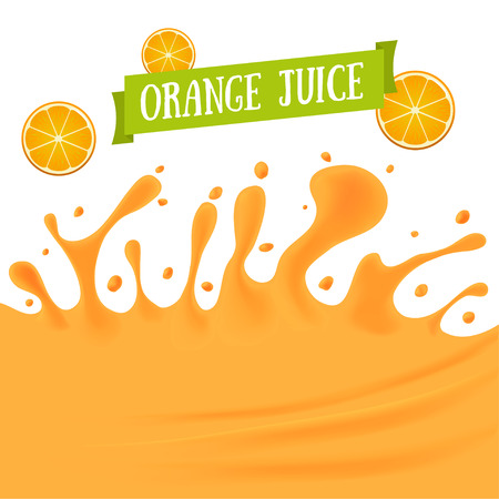 orange juice: Orange Juice Background with Drops and Blot. Vector illustration