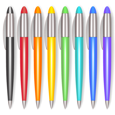 Realistic Color Pen Set. Office Tool. Vector illustration Illustration