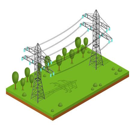 Power Lines pylonen. Landschap Ondersteuning High Voltage. Isometrisch aanzicht. vector illustratie Stock Illustratie