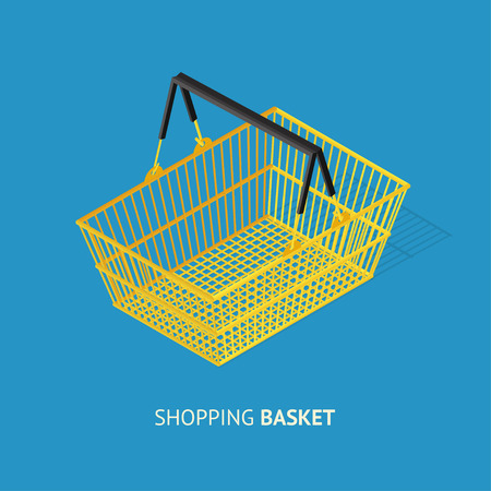 empty basket: Metal Empty Shopping Basket. Realistic Design. Vector illustration