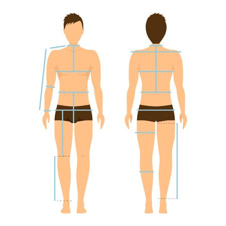 Man Body Front and Back for Measurement. Flat Design Style. Vector illustration