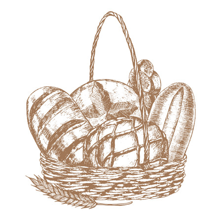 Frais Bread Basket main Dessinez Sketch. Vintage Style alimentaire. Vector illustration