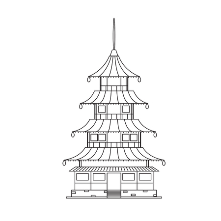 monastery: Chinese Buddhist Temple, Monastery Building Pixel Perfect Art. Material Design. Vector illustration Illustration