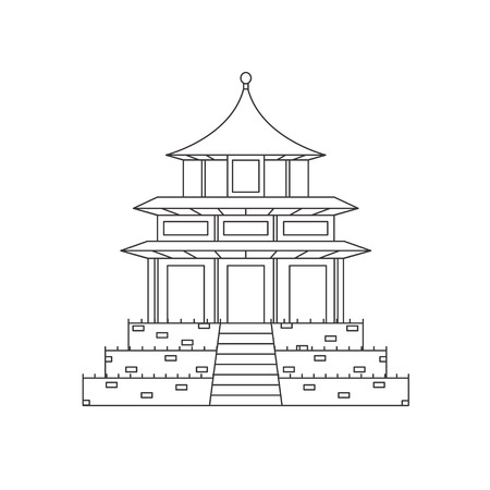 monastery: Chinese Buddhist Temple, Monastery Building. Religion House Pixel Perfect Art. Material Design. Vector illustration