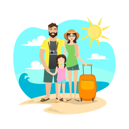 mom and dad: Happy Family Traveling. Together Trip. Mom, Dad and Daughter on Vacation. Flat Design Style. Vector illustration