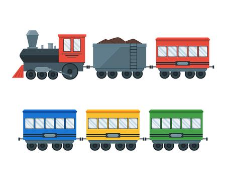 Transporte Tren Retro vendimia. Locomotora con vagones Set. Plano Estilo Diseño. ilustración vectorial