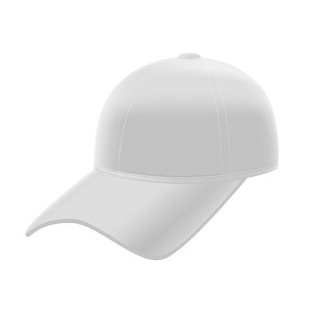 teen golf: Realistic White Baseball Cap Template Mockup. Blank Empty Hat. Vector illustration
