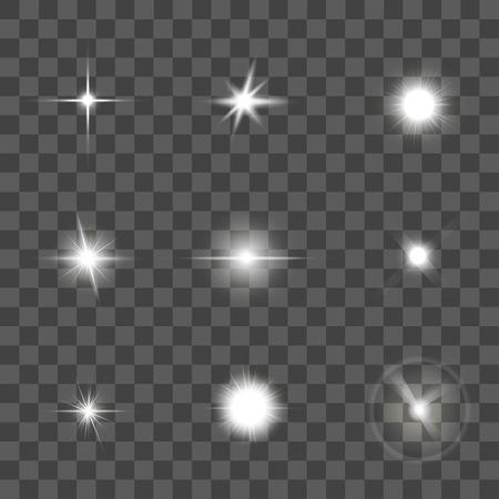 Glowing Light Effect Set on Black Transparent Background. Star or Beam. Vector illustration Illustration