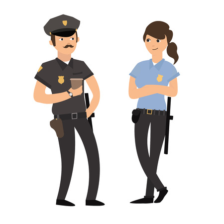 policewoman: Policeman and Policewoman in Uniform. Friendly Police Officers. Flat Design Style. Vector illustration