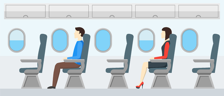 aisle: Airplane Transport Interior Retro. Travel Passengers in Jet. Flat Design Style. Vector illustration