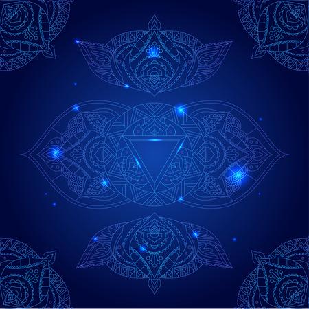 Chakra Ajna on a Dark Blue Background for Your Design. Vector illustration