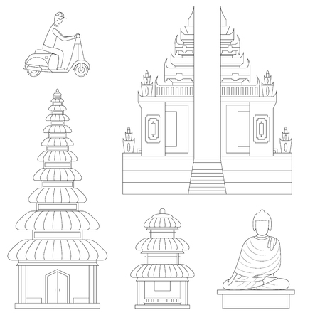 Bali Thin Line Art Building Pixel Perfect Art. Material Design. Vector illustration
