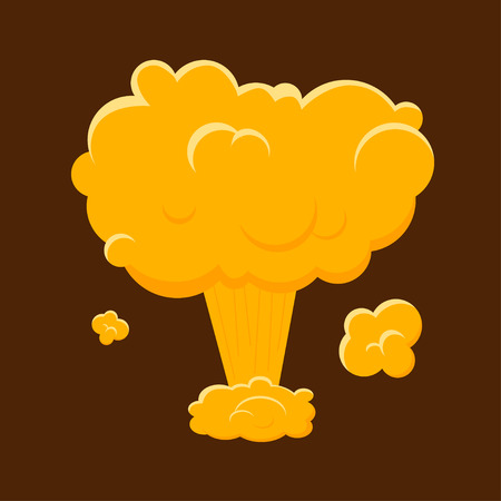 mushroom cloud: Cartoon Nuclear Bomb Explosion. Mushroom Cloud and World War. Flat Design Style. Vector illustration Illustration