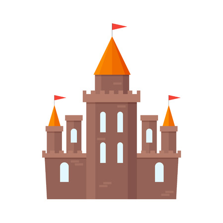 Castle Knight Flat Design Style. Medieval Architecture of the Buildings and Towers. Vector illustration