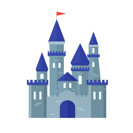 fortress: Castle Medievel Stone Fortress Ancient Building Flat Design Style. Vector illustration Illustration