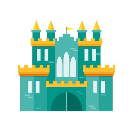 Castle Princess Flat Design Style Medieval Fortified Ford for Kingdom. Vector illustration