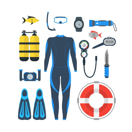 Diving Equipment Set. Mask and Snorkel or Scuba, Flippers and Suit for Swimming. Flat Design Style. Vector illustration
