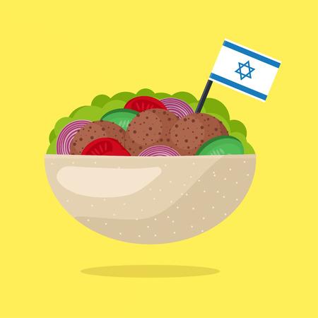 Falafel with Israeli Flag. Vegetarian Fast Food. Flat Design Style. Vector illustration