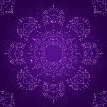 sahasrara: Chakra Sahasrara on Dark Violet Background for Your Design. Vector illustration