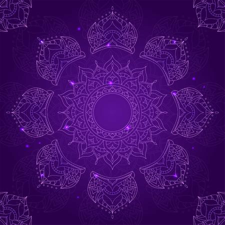Chakra Sahasrara on Dark Violet Background for Your Design. Vector illustration