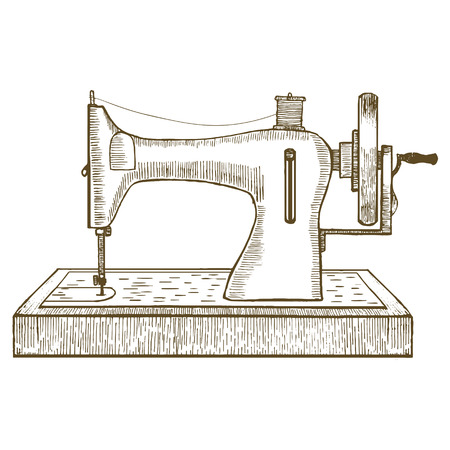 seamstress: Sewing Machine Hand Draw Sketch for Your Design. Equipment of a Dressmaker or Seamstress. Vector illustration Illustration