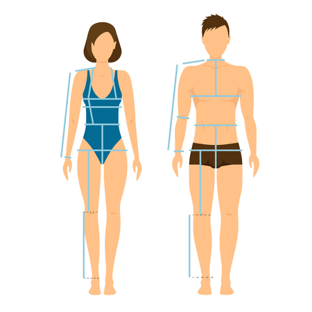 Woman and Man Body Front and Back for Measurement. Flat Design Style. Vector illustration