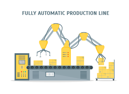 conveyor system: Conveyor Fully Automatic Production Line with Cardboard Boxes. Auto operation. Flat Design Style. Vector illustration