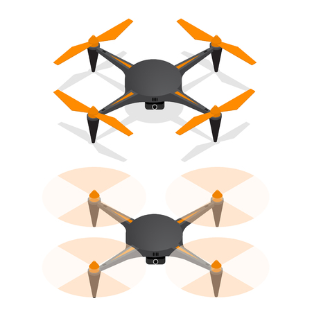 Realistic Air Drone Quadrocopter in the Sky and Turned Off For Monitoring and Video Isometric View. Vector illustration Illusztráció