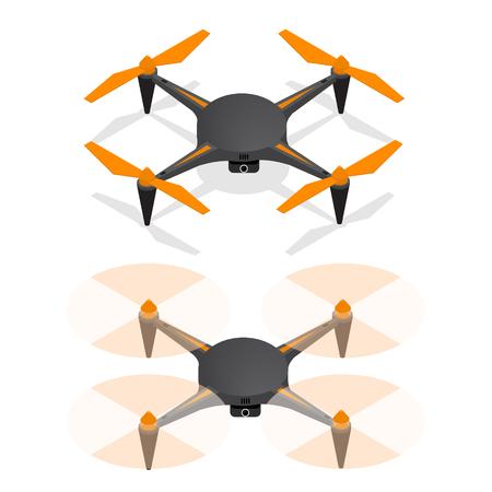 Realistische luchthommel Quadrocopter in de lucht en uitgeschakeld voor bewaking en video-isometrische weergave. Vector illustratie
