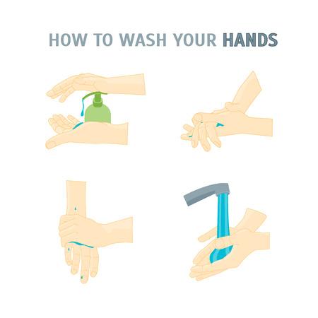 手を洗う。あなたの手を洗浄する方法。ビジネスの取扱説明書とポスター。ベクトル図