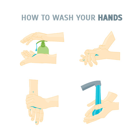 wash your hands: Hand Washing. How To Wash Your Hands. Poster with the Instruction Manual for Business. Vector illustration Illustration