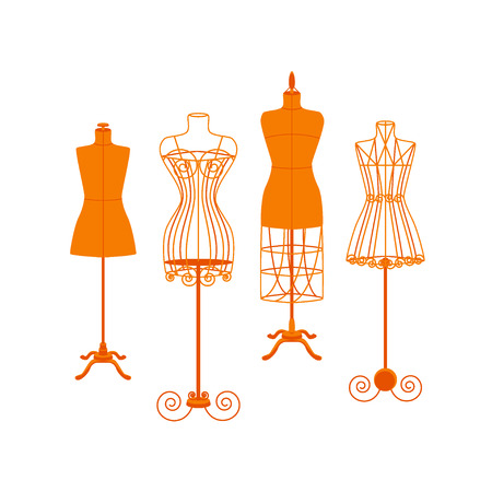 Vintage Mannequin or Dummies Color Set For Sewing Women Fashion Clothes Flat Design Style . Vector illustration Illustration