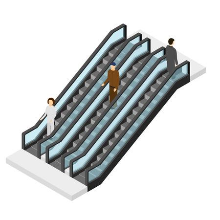 bajando escaleras: Escalera móvil con la gente visión isométrica. Pasajeros que suben y que va abajo. Escaleras para lugares públicos. ilustración vectorial Vectores